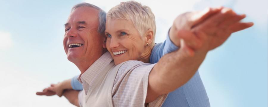 Senior Couple happy over their retirement strategy